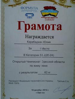 Тренер Карабаджак Юлия Дмитриевна - Одесса, Тренажерные залы